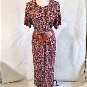 Vintage 70s Prairie Dress Floral Print w Tie Back